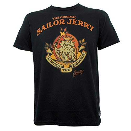 Sailor Jerry Tattoo Neptune Black T-Shirt Mens Round Neck Short Sleeves Casual T-Shirt Top Clothing